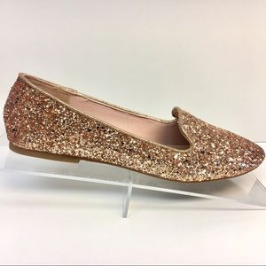 Restock! Rose Gold Glitter Loafer Flats Round Toe